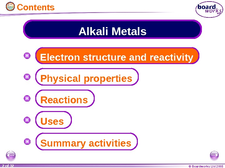 © Boardworks Ltd 20052 of 32 Alkali Metals Electron structure and reactivity Physical properties Summary activities.