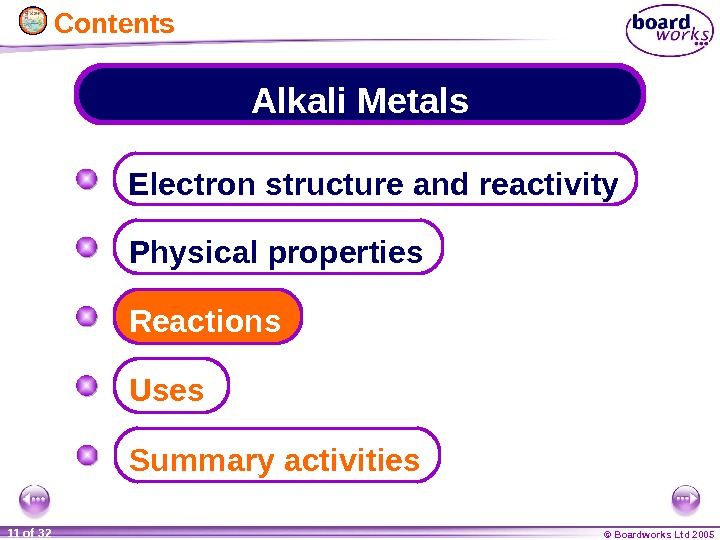 © Boardworks Ltd 200511 of 32 Alkali Metals Electron structure and reactivity Physical properties Summary activities.
