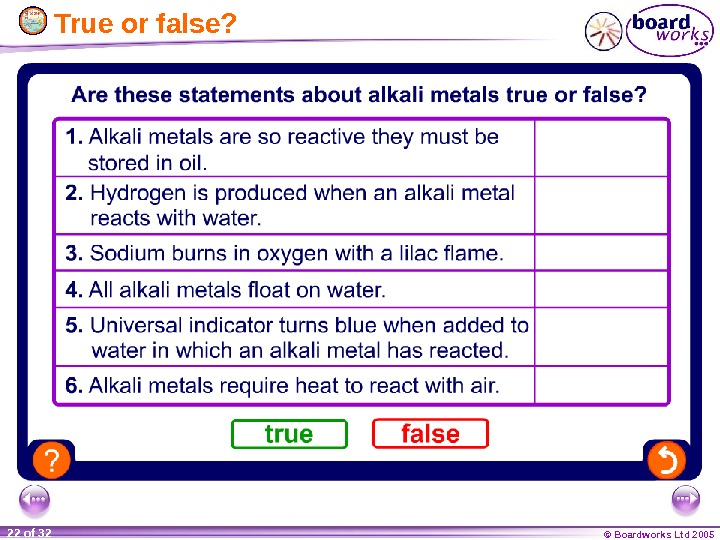 © Boardworks Ltd 200522 of 32  True or false?