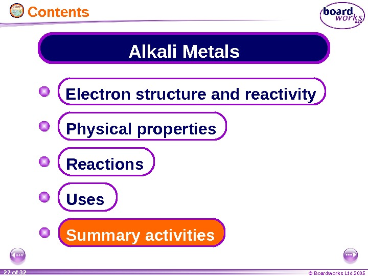 © Boardworks Ltd 200527 of 32 Alkali Metals Electron structure and reactivity Physical properties Summary activities.