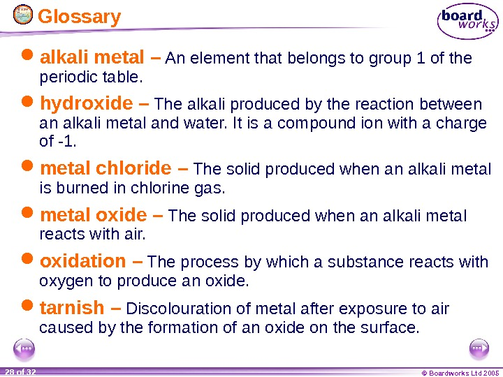 © Boardworks Ltd 200528 of 32  Glossary alkali metal – An element that belongs to