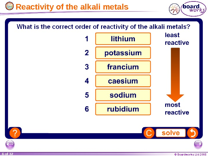 © Boardworks Ltd 20056 of 32  Reactivity of the alkali metals