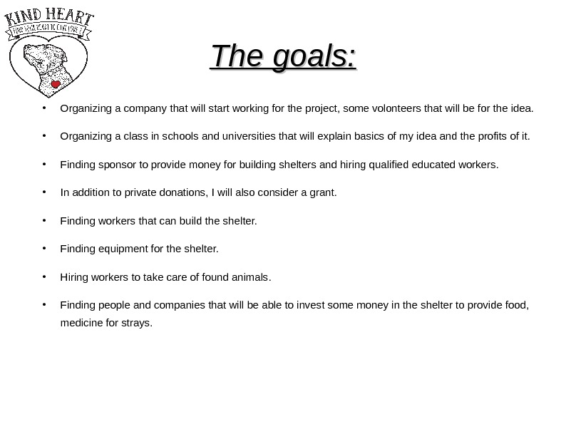 The goals:  Organizing a company that will start working for the project, some