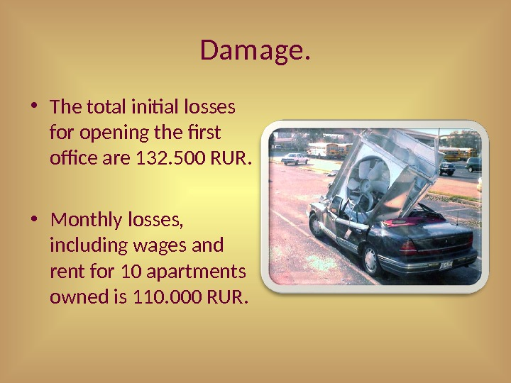 Damage.  • The total initial losses for opening the first office are 132. 500 RUR.