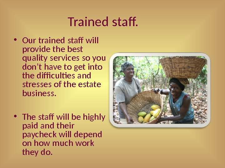 Trained staff.  • Our trained staff will provide the best quality services so you don't