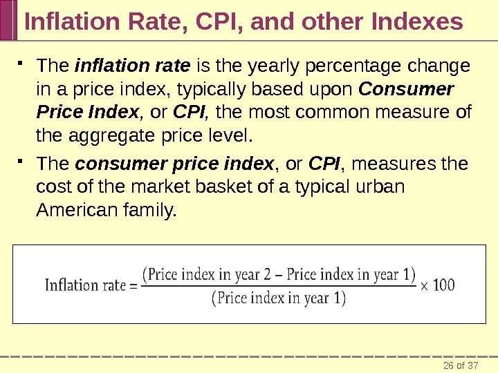 26 of 37 Inflation Rate, CPI, and other Indexes The inflation rate is the yearly percentage