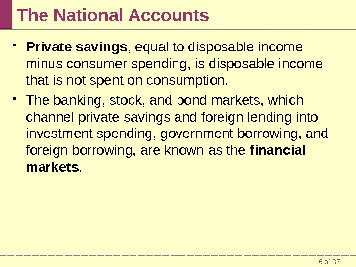 6 of 37 The National Accounts Private savings , equal to disposable income minus consumer spending,