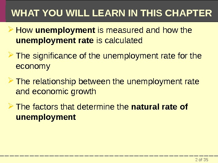 2 of 35 WHAT YOU WILL LEARN IN THIS CHAPTER How unemployment is measured and how