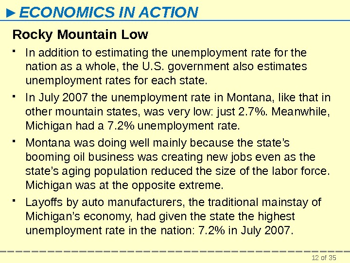 12 of 35► ECONOMICS IN ACTION Rocky Mountain Low In addition to estimating the unemployment rate