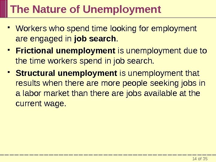 14 of 35 The Nature of Unemployment Workers who spend time looking for employment are engaged