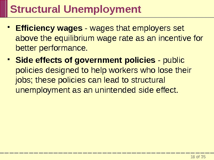 18 of 35 Structural Unemployment Efficiency wages - wages that employers set above the equilibrium wage