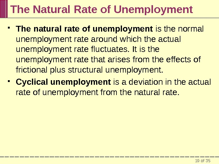 19 of 35 The Natural Rate of Unemployment The natural rate of unemployment is the normal