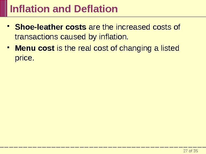 27 of 35 Inflation and Deflation Shoe-leather costs are the increased costs of transactions caused by
