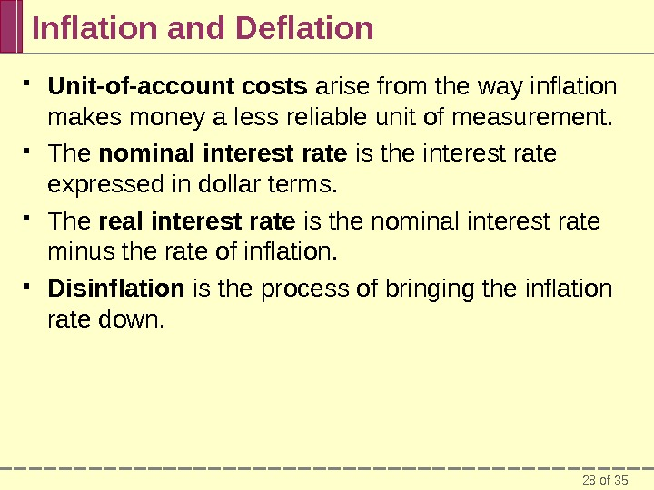 28 of 35 Inflation and Deflation Unit-of-account costs arise from the way inflation makes money a