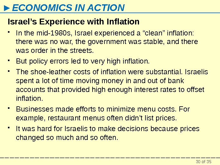 30 of 35► ECONOMICS IN ACTION Israel's Experience with Inflation In the mid-1980 s, Israel experienced