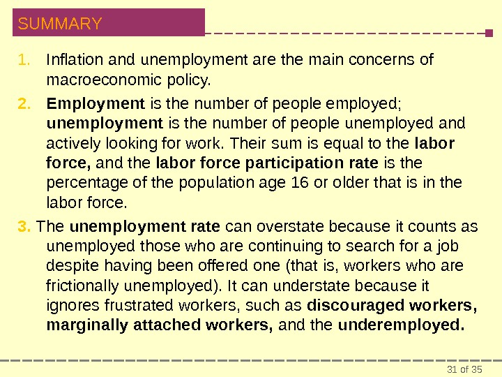 31 of 35 SUMMARY 1. Inflation and unemployment are the main concerns of macroeconomic policy. 2.