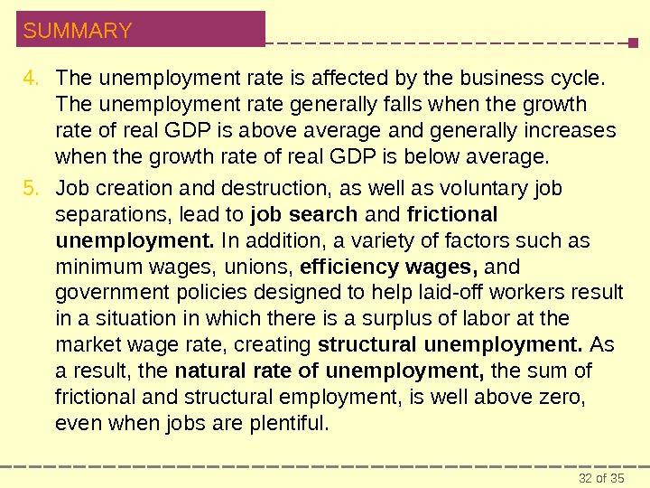 32 of 35 SUMMARY 4. The unemployment rate is affected by the business cycle.  The