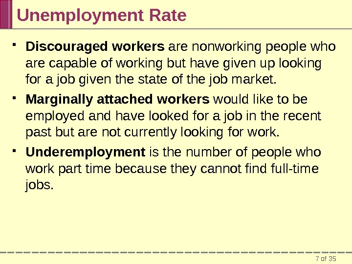 7 of 35 Unemployment Rate Discouraged workers are nonworking people who are capable of working but