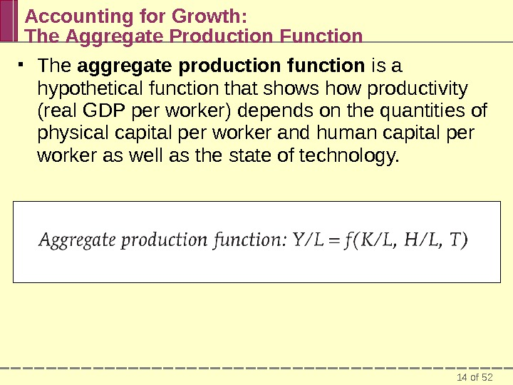 14 of 52 Accounting for Growth:  The Aggregate Production Function The aggregate production function is