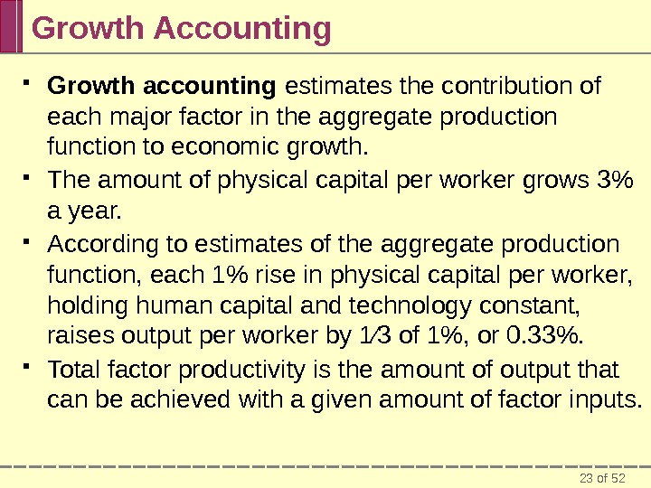 23 of 52 Growth Accounting Growth accounting estimates the contribution of each major factor in the