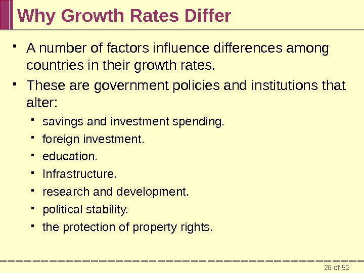 28 of 52 Why Growth Rates Differ A number of factors influence differences among countries in