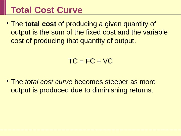 Total Cost Curve The total cost of producing a given quantity of output is the sum