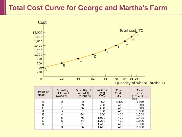 Total Cost Curve for George and Martha's Farm 19 36 51 64 75 84 91 960$2,