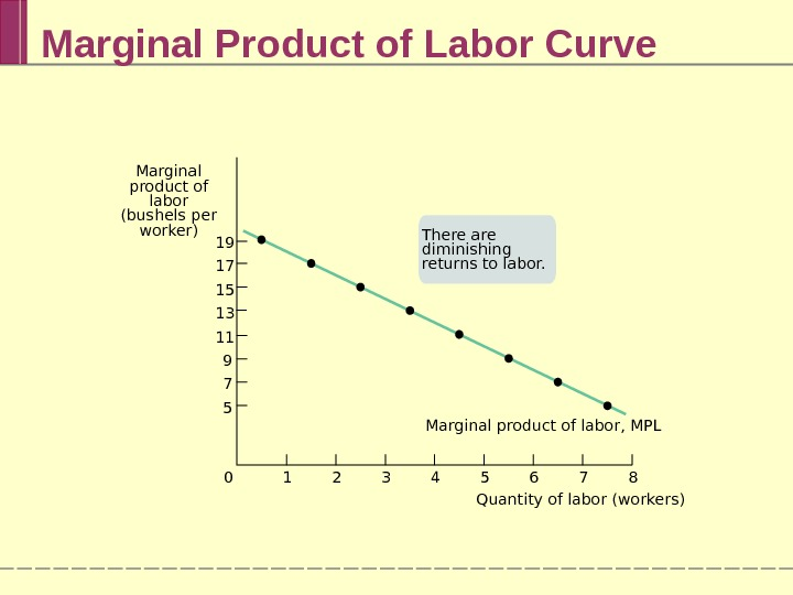Marginal Product of Labor Curve Marginal product of labor, MPL 7 8654321019 17 15 13 11