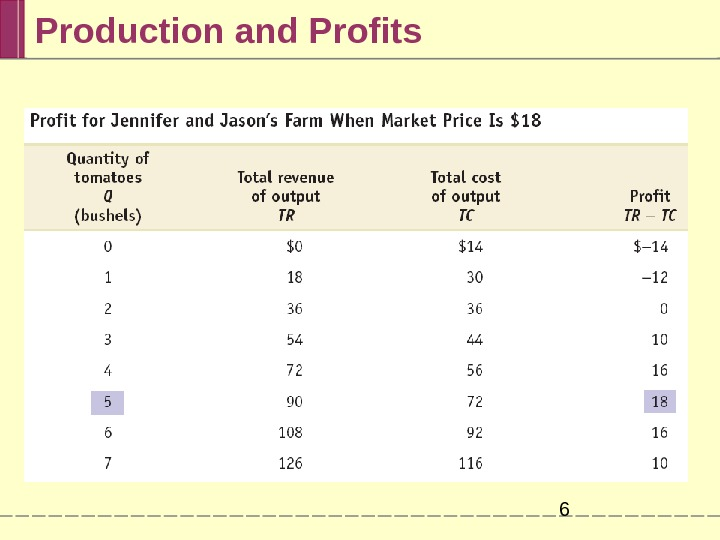 Production and Profits 6