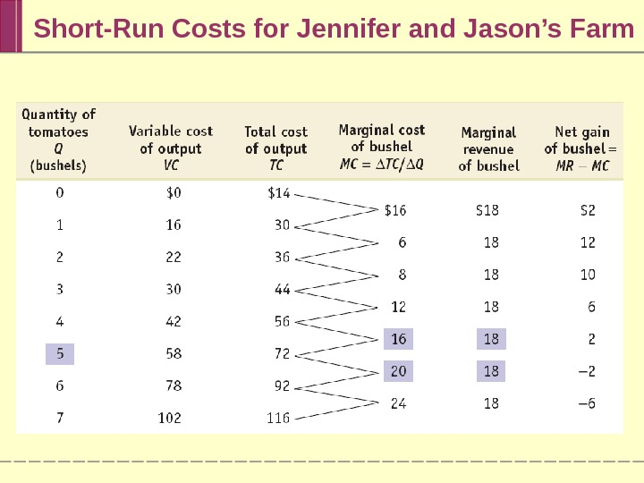 Short-Run Costs for Jennifer and Jason's Farm