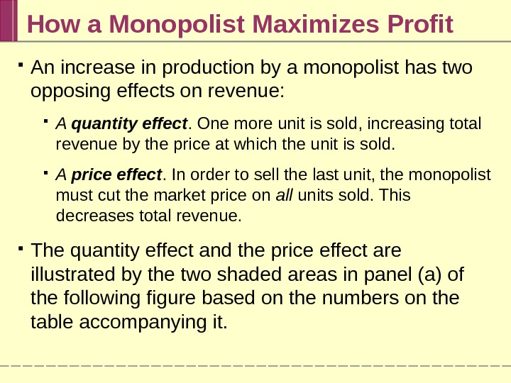 How a Monopolist Maximizes Profit An increase in production by a monopolist has two opposing effects