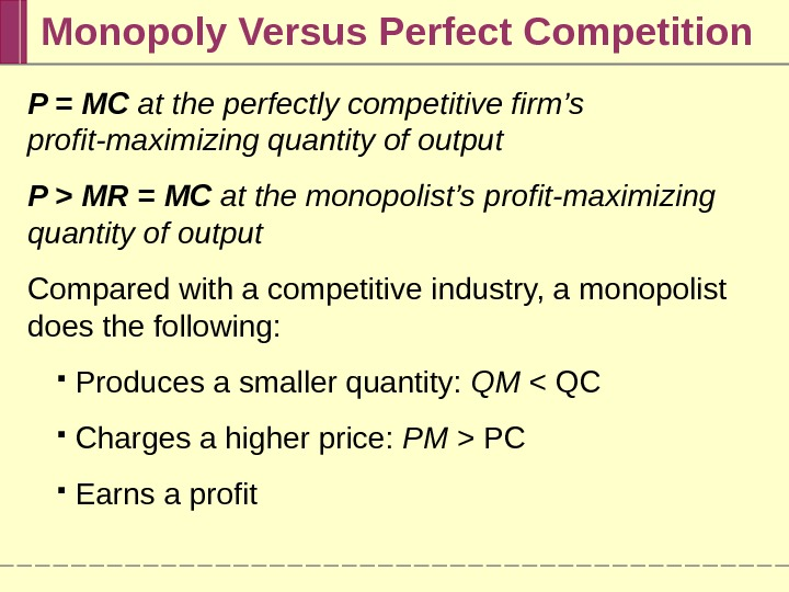 Monopoly Versus Perfect Competition P = MC at the perfectly competitive firm's profit-maximizing quantity of output