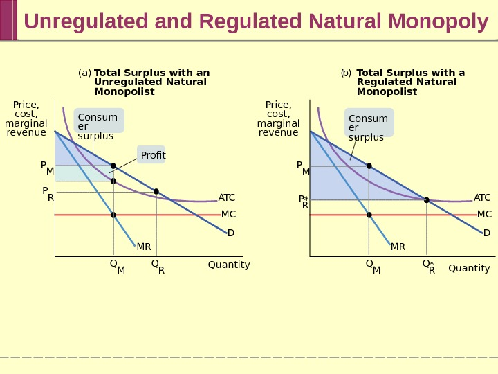 Unregulated and Regulated Natural Monopoly (a) Total Surplus with an Unregulated Natural Monopolist ( b )