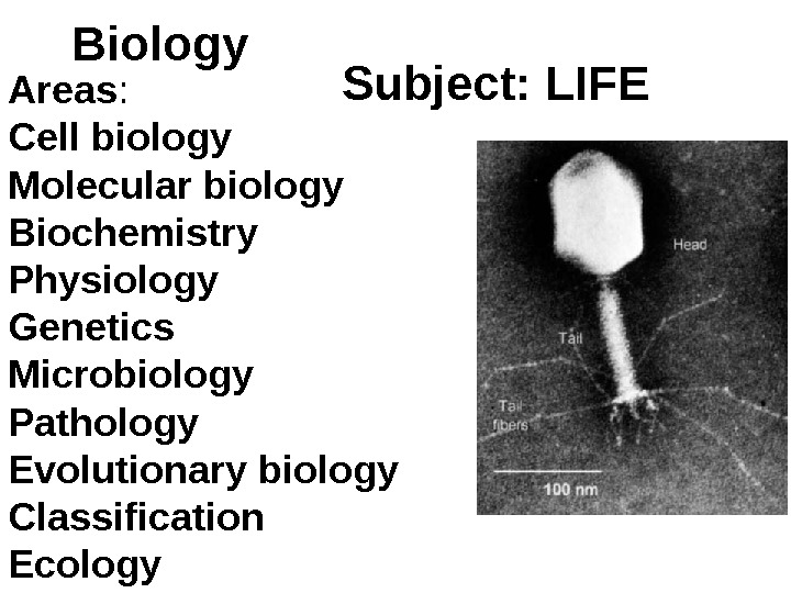 Biology Subject: LIFE Areas : Cell biology Molecular biology Biochemistry Physiology Genetics  Microbiology  Pathology
