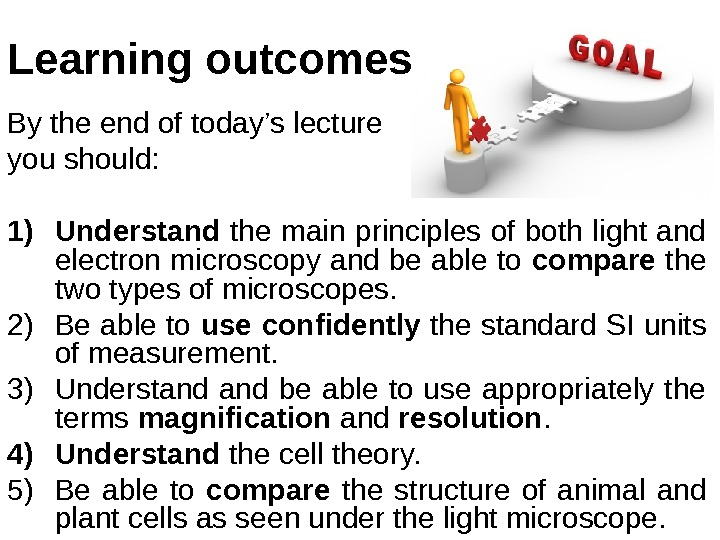 By the end of today's lecture you should: 1) Understand the main principles of both light