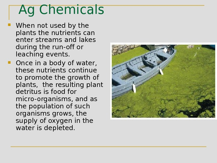 Ag Chemicals When not used by the plants the nutrients can enter streams and lakes during