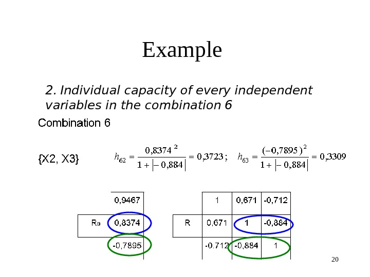20 Example 2.  Individual capacity of every independent variable s in the combination 6