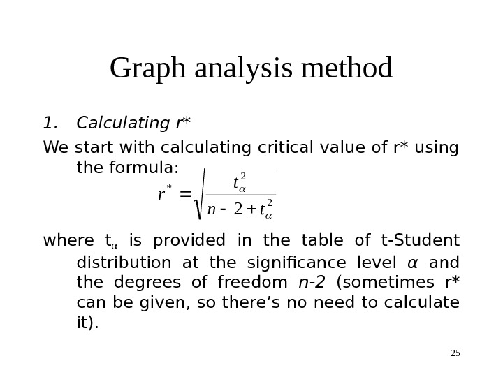25 Graph analysis method 1. Calculating r*  We start with calculating critical value of r*