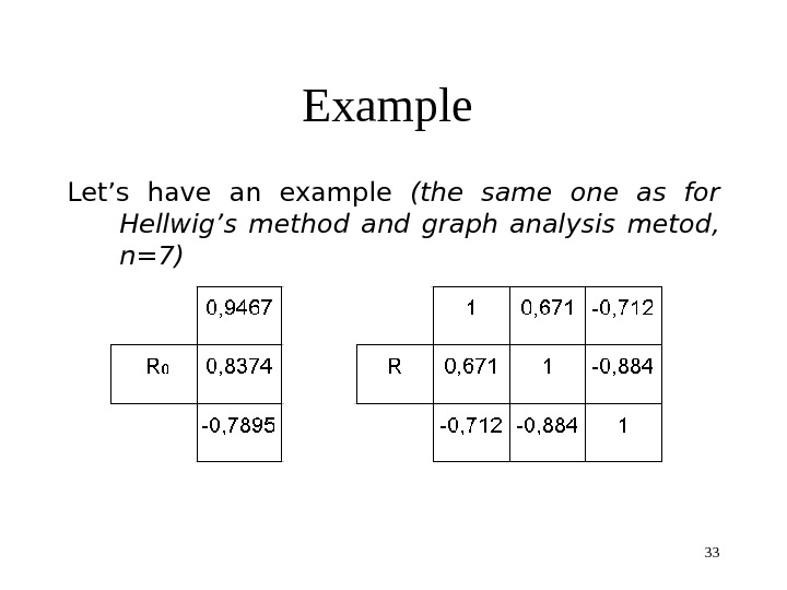 33 Example Let's have an example (the same one as for Hellwig's method  and graph