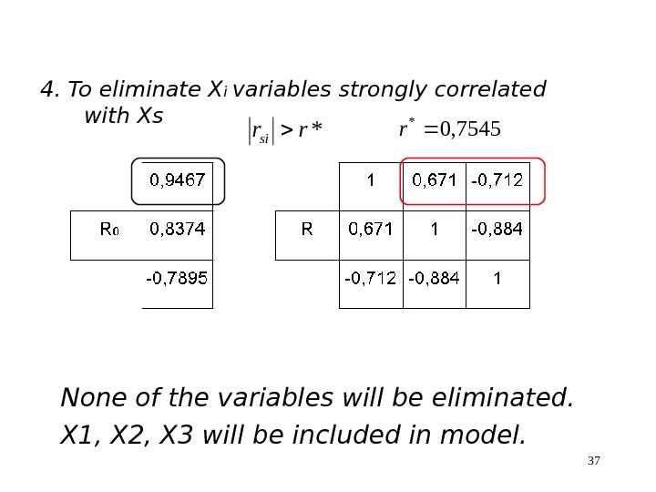 374. To eliminate X i variables strongly correlated with Xs*rrsi 7545, 0 * r None of