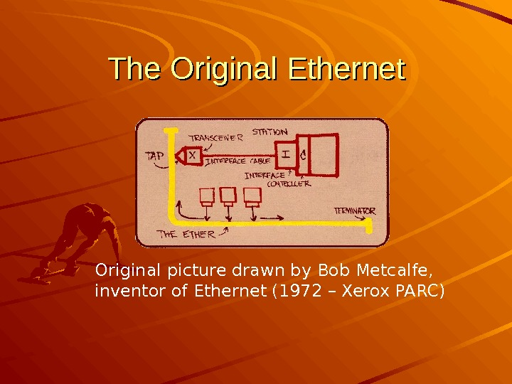 The Original Ethernet Original picture drawn by Bob Metcalfe,  inventor of Ethernet (1972