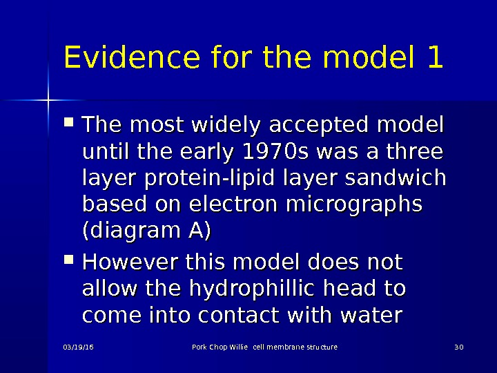 Evidence for the model 1 The most widely accepted model until the early 1970 s was