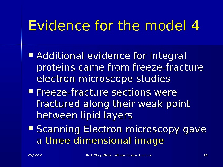 Evidence for the model 4 Additional evidence for integral proteins came from freeze-fracture electron microscope studies