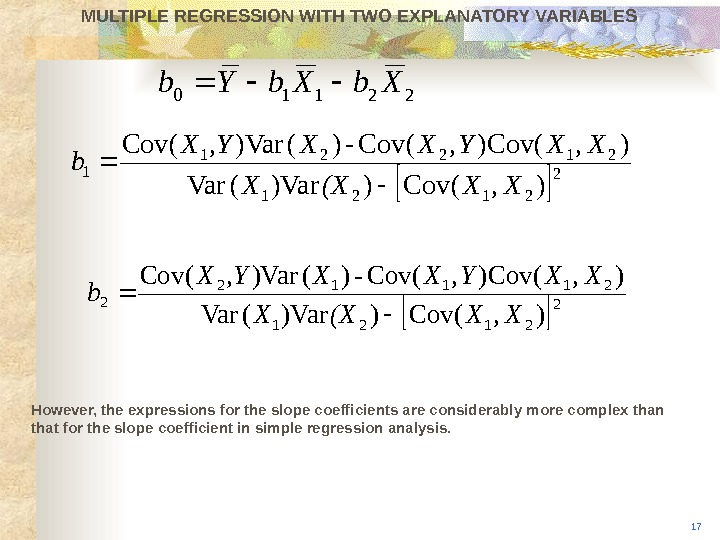 MULTIPLE REGRESSION WITH TWO EXPLANATORY VARIABLES However, the expressions for the slope coefficients are considerably more