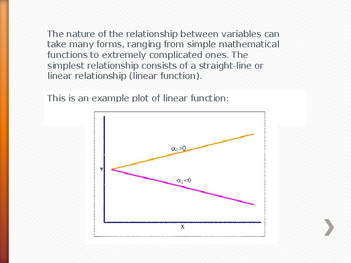 This is an example plot of linear function: The nature of the relationship between variables can