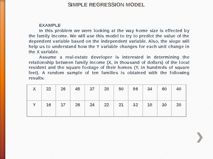 SIMPLE REGRESSION MODEL EXAMPLE In this problem we were looking at the way home size is