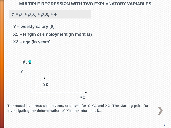 MULTIPLE REGRESSION WITH TWO EXPLANATORY VARIABLES Y X 2 X 10 3 The model has three