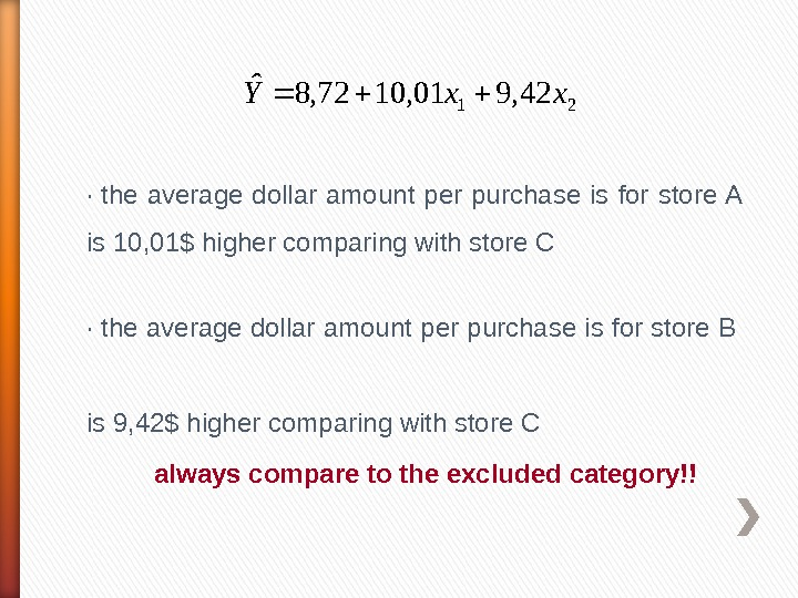 2142, 901, 1072, 8ˆxx. Y· the average dollar amount per purchase is for store A is