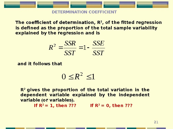 21 The coefficient of determination,  RR 22 , of the fitted  regression is defined