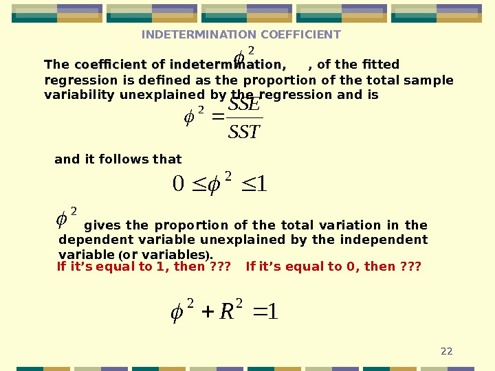 22 INDETERMINATION COEFFICIENT The coefficient of indetermination , ,   , of the fitted